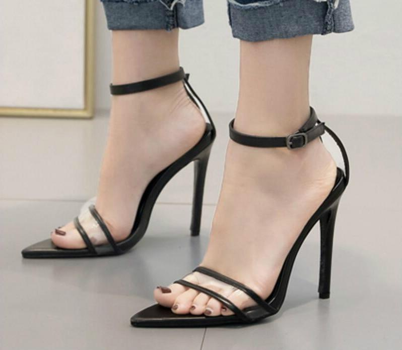 thin high heels pumps shoes  PU leather ladies pointed toe gladiator sexy clear