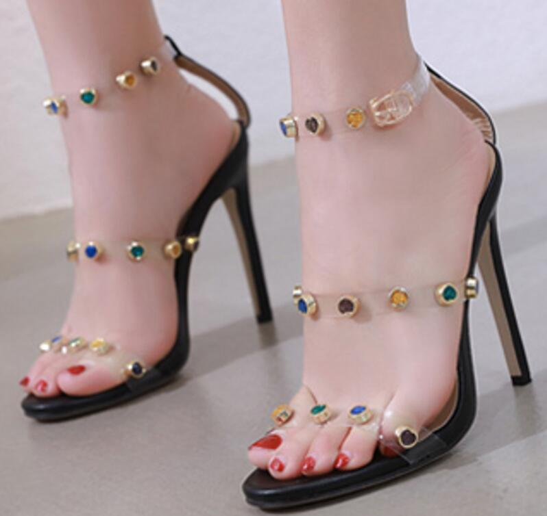Clear Transparent Shoes Thin High Heels Pumps Stiletto Ladies Open Toe Rivets