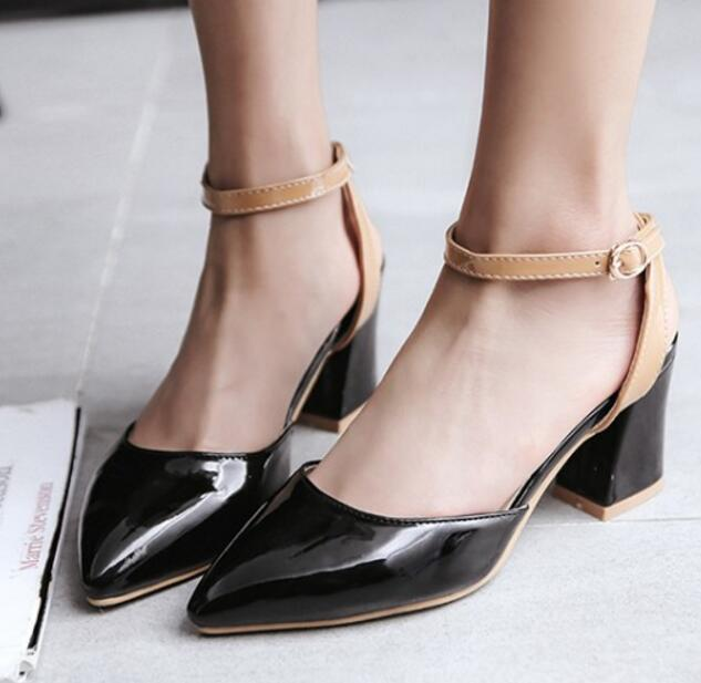 Chunky Women Sandals Pumps Ladies High Heels Ankle Strap Shoes