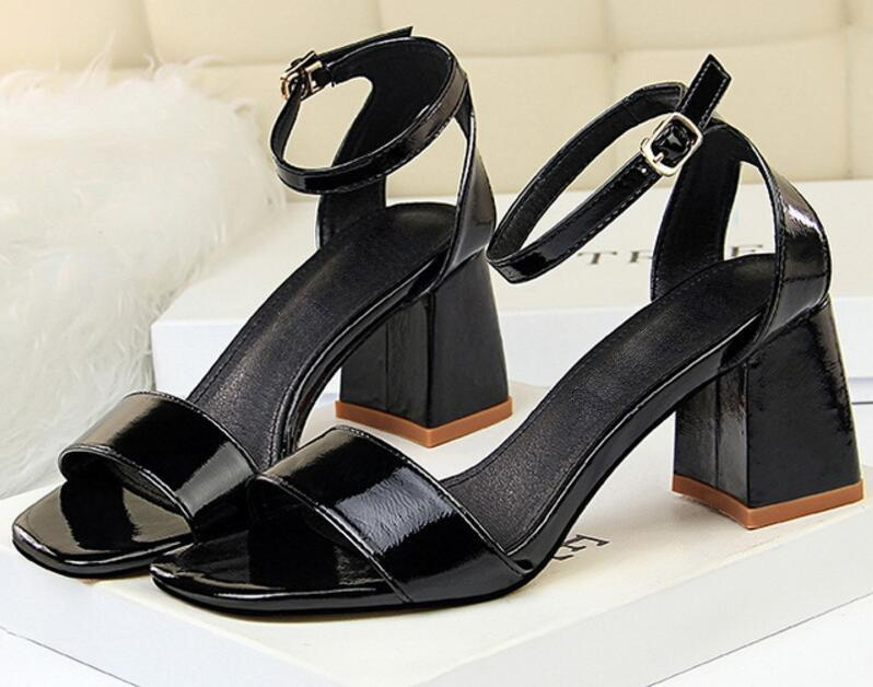 patent leather office ladies summer sandals square high heels pumps