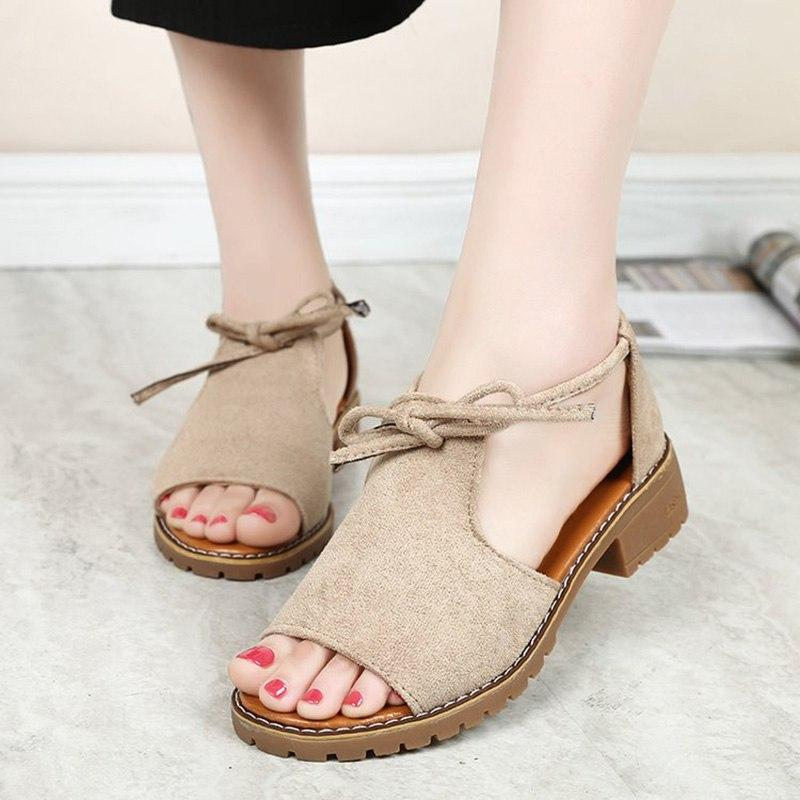 Fashion Ladies Shoes Low Heels Sandals Elegant Summer