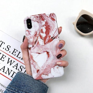 Bright Pink Marble iPhone Cases