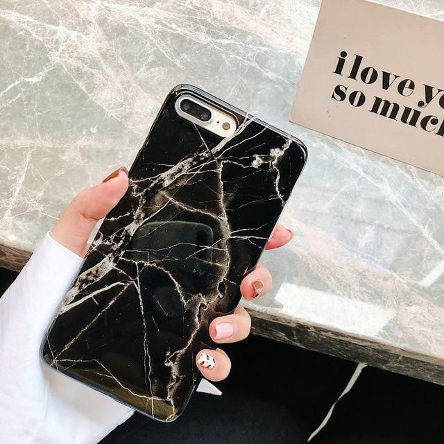 Black Golden Marble iPhone Cases