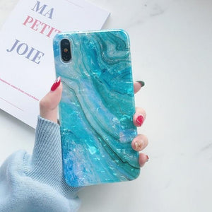 Blue Glitter Marble Case For iphone
