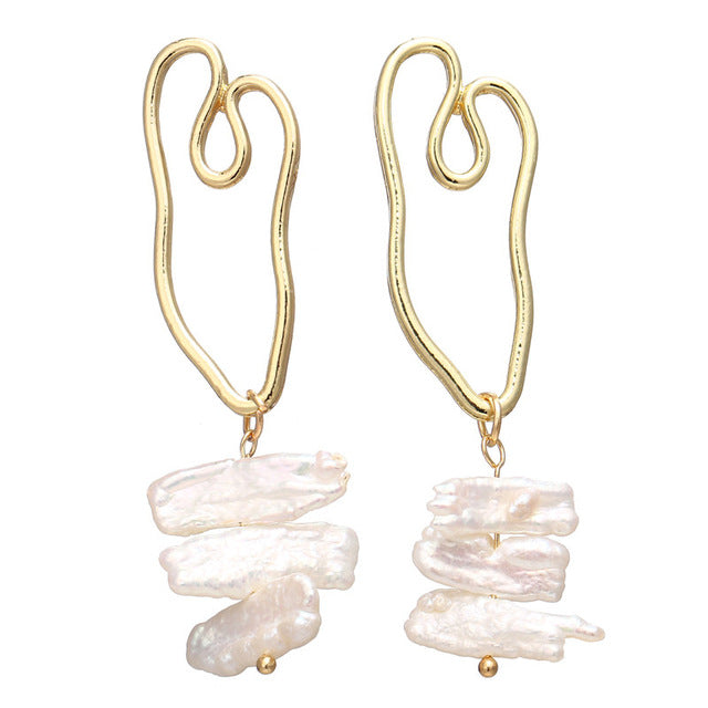 Vintage Gold Pearl Drop Earrings Irregular