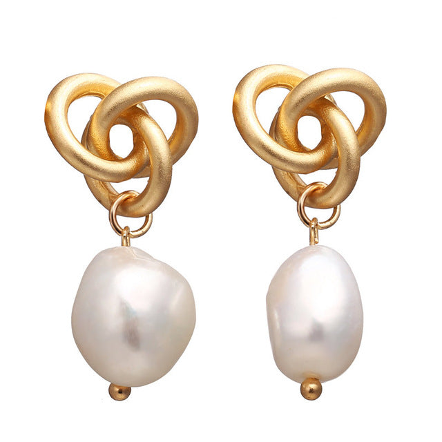 Vintage Pearl Golden Drop Earrings