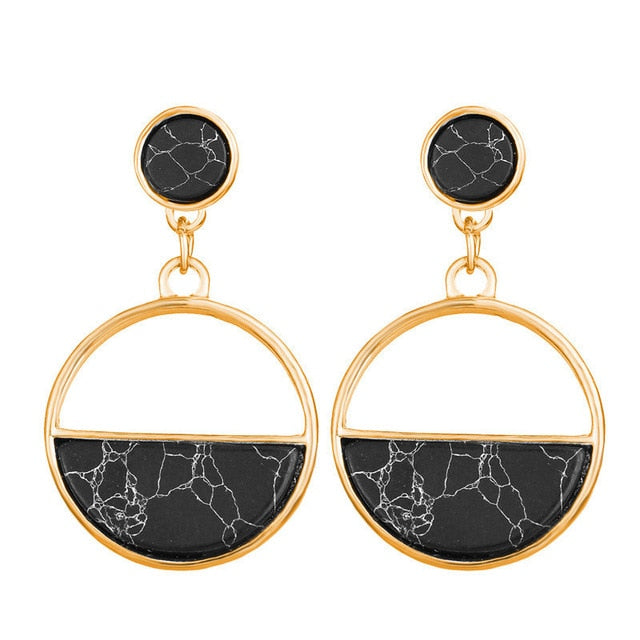 Black Marble Round Drop Earrings