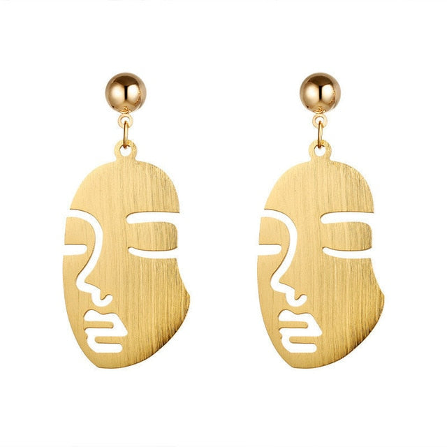 Golden Mystery Face Drop Earrings