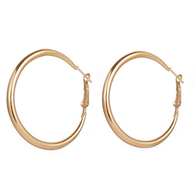 Golden Round Loop Earrings