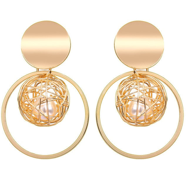 Golden Circle Round Earrings