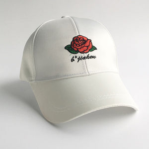 Rose Embroidery Back Bow Cap