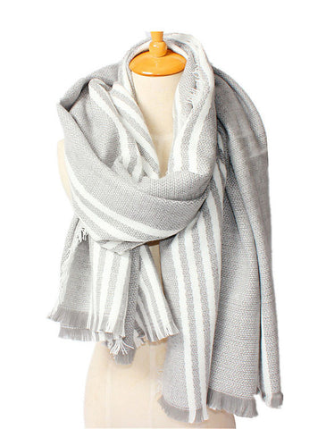 Geometric Pashmina Scarves Gray / Orange