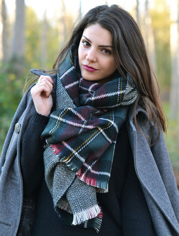 Double Sided Plaid Red Scarf