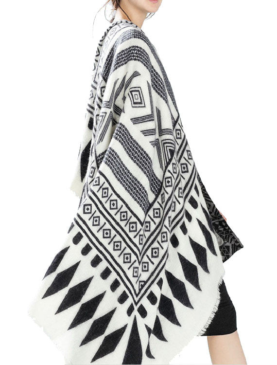 Geometric Blanket Scarves | Black and White