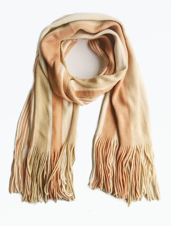 Striped Long Fringed Scarf