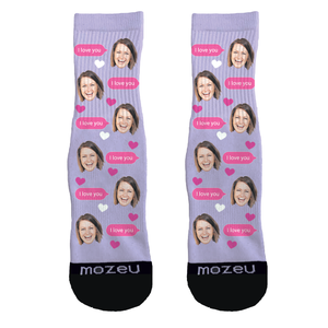 Custom Face Socks - I Love You