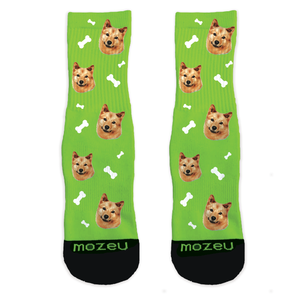 Custom Pup Socks - Bone