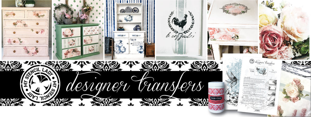 My Stencil Lady Designer Transfers for chalk painted furniture and craft