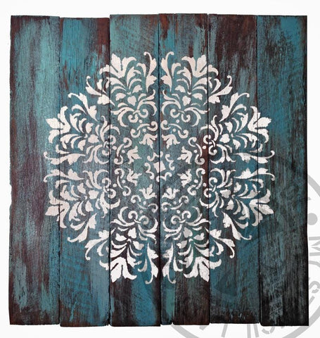 My Stencil Lady Artwork Mandala Timber Art Blue Chalk Painting Stencils Australia