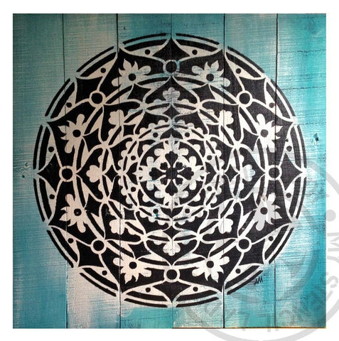 Mandala Timber Art Black and White on Turquoise **SOLD** - My Stencil Lady Australian Made Stencils Mandala Vintage Craft Scrapbooking
