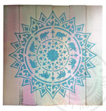 My Stencil Lady Artwork Mandala Timber Art 'GLOW IN THE DARK Elephant Mandala' *SOLD* Chalk Painting Stencils Australia