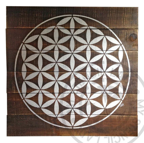 Mandala Timber Art Flower of Life on Natural Stain - My Stencil Lady Australian Made Stencils Mandala Vintage Craft Scrapbooking