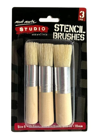 Mont Marte Studio Stencil Brush Pack of 3 brushes Stencil Brushes - Mont Marte Chalk Painting Stencils Australia