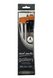 Gallery Series Brush Set Acrylic 4pce - Mont Marte - My Stencil Lady Australian Made Stencils Mandala Vintage Craft Scrapbooking