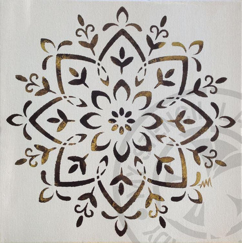 Mandala Canvas Art Golden - My Stencil Lady Australian Made Stencils Mandala Vintage Craft Scrapbooking