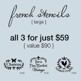 My Stencil Lady Stencil French Stencils 3 Pack - Large Size (Sheet Size 210x295mm) Celebration Stencil Packages Chalk Painting Stencils Australia