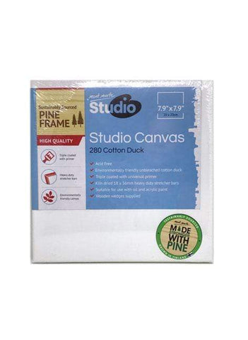 Mont Marte Studio Canvas Canvas Square 20cm - Mont Marte DS - Canvas Square 20cm Chalk Painting Stencils Australia