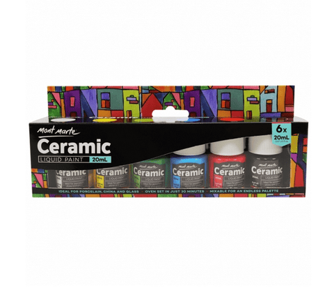 Mont Marte Studio Paint Ceramic Liquid Paint Set - Mont Marte Ceramic Paint Set Chalk Painting Stencils Australia