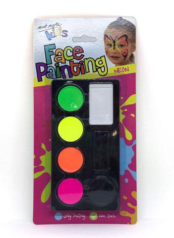 Mont Marte Studio Paint Face Paint Set Neon - Mont Marte DS - Face Paint Set - Neon Chalk Painting Stencils Australia