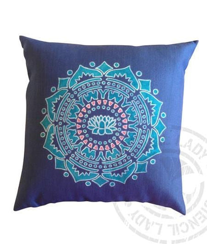 Cushion Hand Painted / Stencilled - SOLD - NOT AVAILABLE - My Stencil Lady Australian Made Stencils Mandala Vintage Craft Scrapbooking