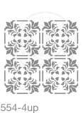 My Stencil Lady Stencil XLarge - 4up - 285mm Full Cutout - Each Tile Space 142mmSq (Sheet Size 300x300mm) Stencil 554 Chalk Painting Furniture Decor Stencils