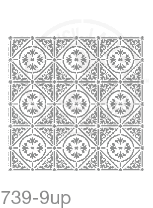 My Stencil Lady Stencil XLarge - 9up - 285mm Full Cutout - Each Tile Space 95mmSq (Sheet Size 300x300mm) Stencil 739 Chalk Painting Furniture Decor Stencils
