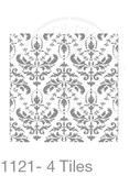 My Stencil Lady Stencil XLarge Sq 4 Tiles - 285mm Cutout (Sheet Size 300x300mm) Stencil 1121 Chalk Painting Furniture Decor Stencils