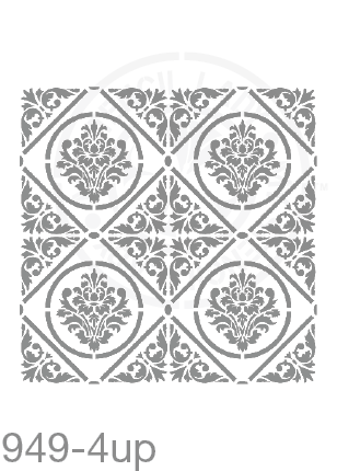 My Stencil Lady Stencil XLarge - 4up - 285mm Full Cutout - Each Tile Space 142mmSq (Sheet Size 300x300mm) Stencil 949 Chalk Painting Furniture Decor Stencils