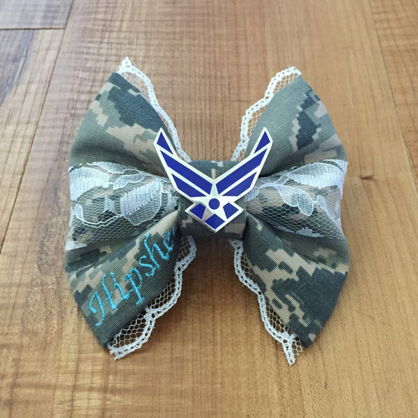 Air Force Deluxe Lace ABU Bow with Air Force Wings