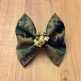 Marines Classy Corner Woodlands or Desert Bow with Charm