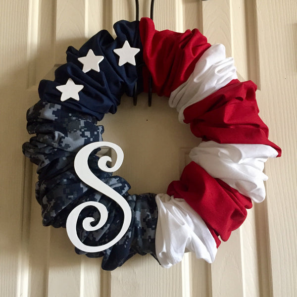 Patriotic Wreath with Wood Stars and Personalized Letter