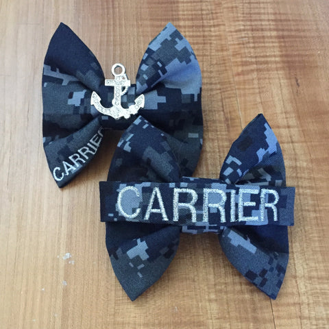 U.S. Navy Nametape Bow and Rhinestone Anchor Bow Pack