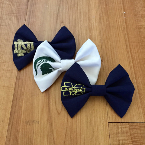 Embroidered Collegiate Team Bow