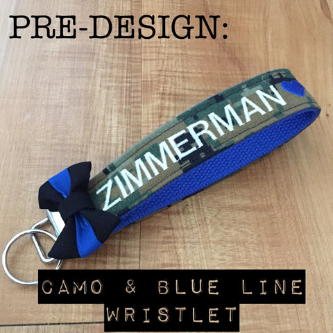 Pre-Designed Camo and Blue Line Wristlet (all branches)