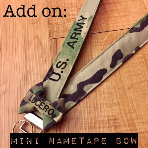 Mini Nametape Bow Add On (wristlets and lanyards not included)
