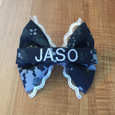 U.S. Navy Lace Digi Blue Nametape Bow