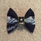 Army Center Lace Black Dress Blues Bow with Army Star