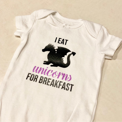 """I eat unicorns for breakfast"" Onesie"