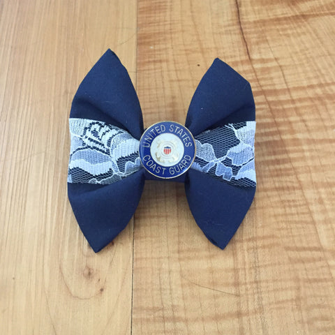 Coast Guard Center Lace Bow with Charm