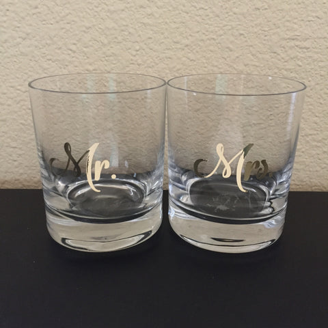 Mr. & Mrs. Decal Set (glasses not included)